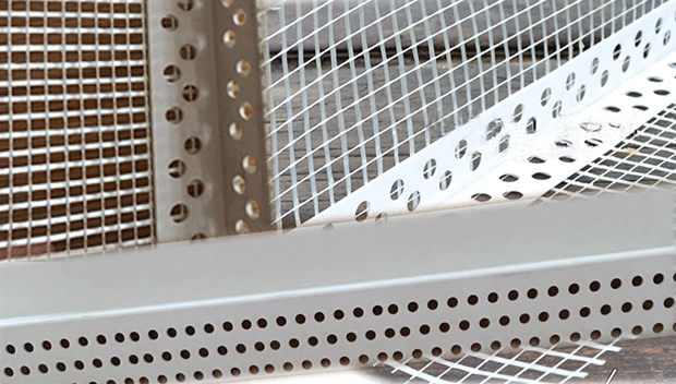 white perforated plastic stucco drywall corner bead